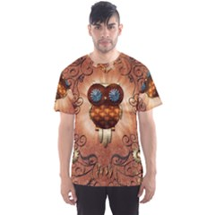 Steampunk, Funny Owl With Clicks And Gears Men s Sport Mesh Tees