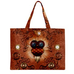 Steampunk, Funny Owl With Clicks And Gears Tiny Tote Bags