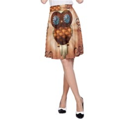 Steampunk, Funny Owl With Clicks And Gears A Line Skirts