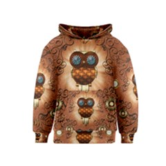 Steampunk, Funny Owl With Clicks And Gears Kid s Pullover Hoodies