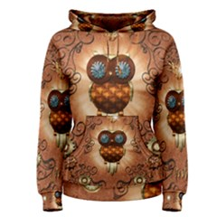 Steampunk, Funny Owl With Clicks And Gears Women s Pullover Hoodies