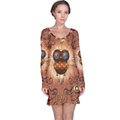 Steampunk, Funny Owl With Clicks And Gears Long Sleeve Nightdresses