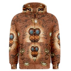 Steampunk, Funny Owl With Clicks And Gears Men s Zipper Hoodies