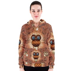 Steampunk, Funny Owl With Clicks And Gears Women s Zipper Hoodies