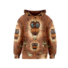 Steampunk, Funny Owl With Clicks And Gears Kids Zipper Hoodies