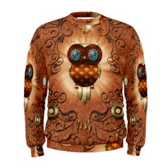 Steampunk, Funny Owl With Clicks And Gears Men s Sweatshirts