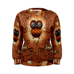 Steampunk, Funny Owl With Clicks And Gears Women s Sweatshirts