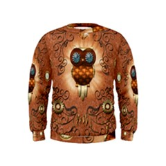 Steampunk, Funny Owl With Clicks And Gears Boys  Sweatshirts