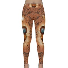 Steampunk, Funny Owl With Clicks And Gears Yoga Leggings