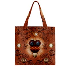 Steampunk, Funny Owl With Clicks And Gears Zipper Grocery Tote Bags