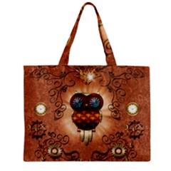Steampunk, Funny Owl With Clicks And Gears Zipper Tiny Tote Bags