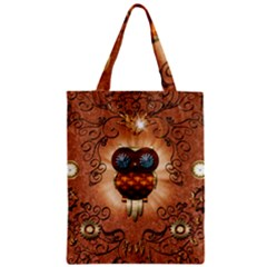 Steampunk, Funny Owl With Clicks And Gears Zipper Classic Tote Bags