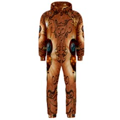 Steampunk, Funny Owl With Clicks And Gears Hooded Jumpsuit (Men)