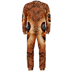 Steampunk, Funny Owl With Clicks And Gears OnePiece Jumpsuit (Men)