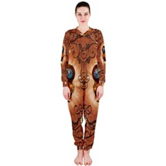 Steampunk, Funny Owl With Clicks And Gears OnePiece Jumpsuit (Ladies)