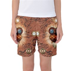 Steampunk, Funny Owl With Clicks And Gears Women s Basketball Shorts