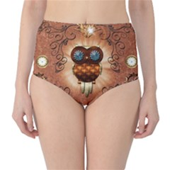 Steampunk, Funny Owl With Clicks And Gears High-Waist Bikini Bottoms