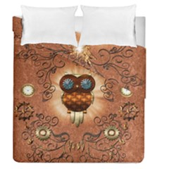 Steampunk, Funny Owl With Clicks And Gears Duvet Cover (full/queen Size)