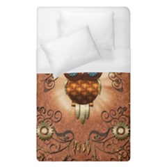Steampunk, Funny Owl With Clicks And Gears Duvet Cover Single Side (single Size)