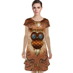 Steampunk, Funny Owl With Clicks And Gears Cap Sleeve Nightdresses