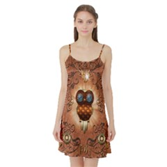 Steampunk, Funny Owl With Clicks And Gears Satin Night Slip