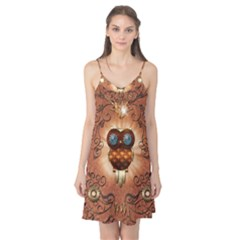 Steampunk, Funny Owl With Clicks And Gears Camis Nightgown