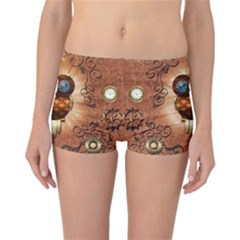 Steampunk, Funny Owl With Clicks And Gears Reversible Boyleg Bikini Bottoms