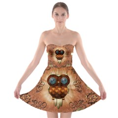 Steampunk, Funny Owl With Clicks And Gears Strapless Bra Top Dress