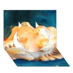 Sea Shell Spiral 2 Heart 3D Greeting Card (7x5)