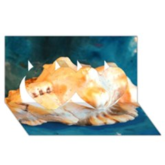 Sea Shell Spiral 2 Twin Hearts 3D Greeting Card (8x4)