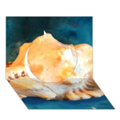 Sea Shell Spiral 2 Circle 3D Greeting Card (7x5)