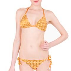 Yellow And White Owl Pattern Bikini Set