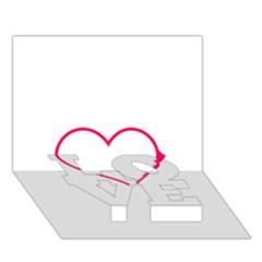 Customizable Shotgun Heart Love Bottom 3d Greeting Card (7x5)