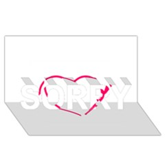 Customizable Shotgun Heart SORRY 3D Greeting Card (8x4)