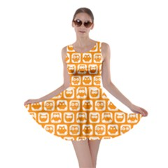 Yellow And White Owl Pattern Skater Dresses