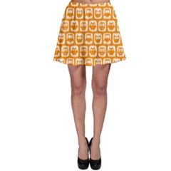 Yellow And White Owl Pattern Skater Skirts