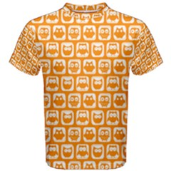 Yellow And White Owl Pattern Men s Cotton Tees