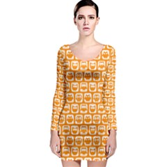 Yellow And White Owl Pattern Long Sleeve Bodycon Dresses