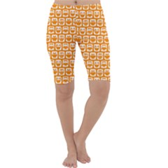 Yellow And White Owl Pattern Cropped Leggings