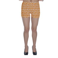 Yellow And White Owl Pattern Skinny Shorts