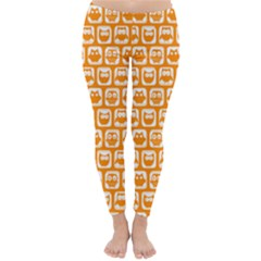 Yellow And White Owl Pattern Winter Leggings