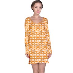 Yellow And White Owl Pattern Long Sleeve Nightdresses