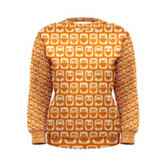 Yellow And White Owl Pattern Women s Sweatshirts