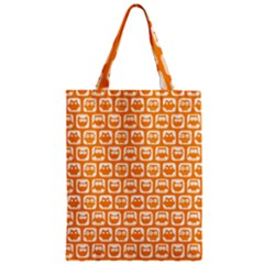 Yellow And White Owl Pattern Zipper Classic Tote Bags