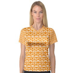 Yellow And White Owl Pattern Women s V-Neck Sport Mesh Tee