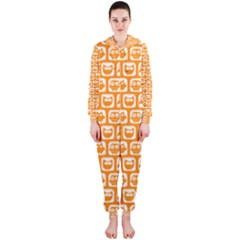 Yellow And White Owl Pattern Hooded Jumpsuit (Ladies)