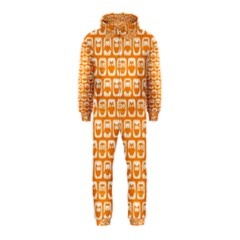 Yellow And White Owl Pattern Hooded Jumpsuit (Kids)