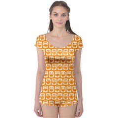 Yellow And White Owl Pattern Short Sleeve Leotard