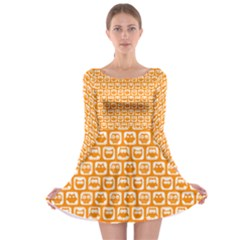 Yellow And White Owl Pattern Long Sleeve Skater Dress