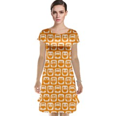 Yellow And White Owl Pattern Cap Sleeve Nightdresses